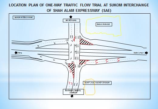 Location Plan of one way traffic flow trial at SUKOM